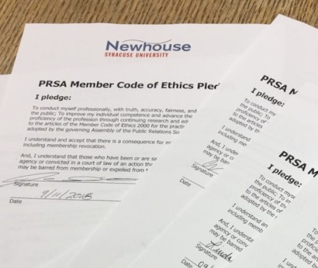 Signed PRSA Code of Ethics Form