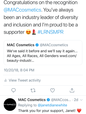 Tweet with a comment from MAC Cosmetics to Janet Diane White